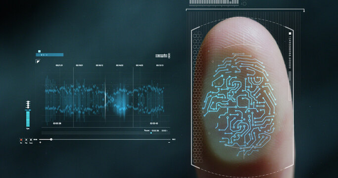 futuristic digital processing of biometric fingerprint scanner. concept of surveillance and security scanning of digital programs and fingerprint biometrics. cyber futuristic applications, future.