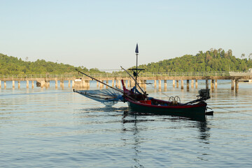 Small scale fisheries boat on the shoreline