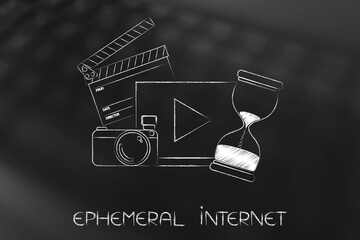 video with camera and ciak next to hourglass, ephemeral internet