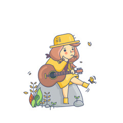 Country Girl and Guitar Character Vector Illustration