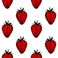 Fruit Menu - Strawberry - colored graphic seamless pattern