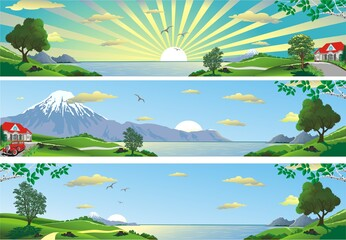 A set of panoramic landscapes. Panorama of nature. Mountains, sea, trees and hills. Vector illustration