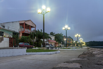 Waterfront street at night - Flores, Peten, Guatemala