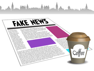 Colorful background with a coffee cup and a newspaper with the text fake news written on its first paper