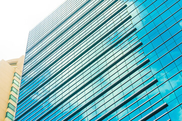 Office building glass window close up business background