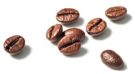 roasted coffee beans on white, (large depth of field, taken with tilt shift lens)