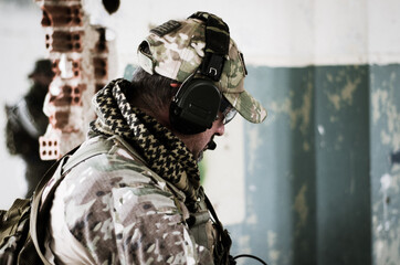 Soldier with comunication headset army