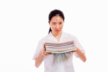 Chinese high school girl holding pile of books