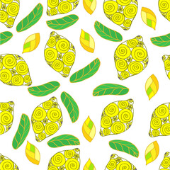 Drawing Doodle lemon on white background