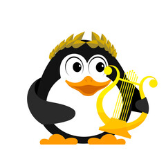 Young penguin with lyre. Cartoon image of a small penguin with an ancient lyre and a laurel wreath. Winner of a song contest on a white background. Vector illustration