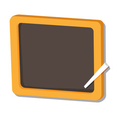 Illustration of black board and chalk on white background, education concept. Isolated Vector.