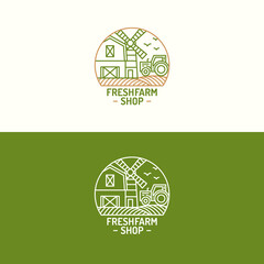 Fresh farm shop logo set color line with farm landscape on background for nature firm, garden, natural product company, healthy food market, vegan cafe, eco store, farming. Vector Illustration