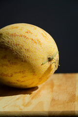 Sweet Yellow Melon Wooden Table Black Background Healthy Food