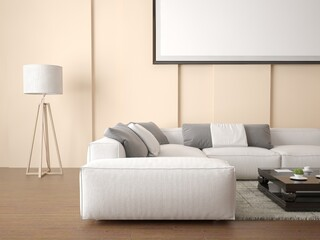 Mock up a spacious bright living room with a large comfortable sofa.