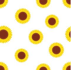 seamless pattern with yellow sunflowers