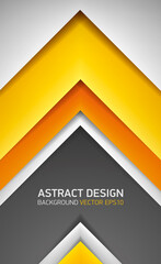 Abstract volume background. Yellow, orange and gray stripes, cover for project presentation, vector design