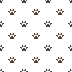 Paw print vector seamless pattern on white background. Flat design vector illustration for greeting, invitation card.