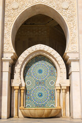 Mosaic fountain at Hassan II Mosque, Casablanca