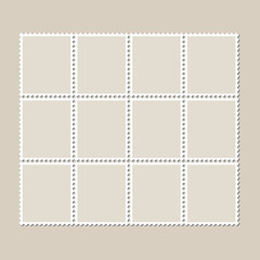 Unbroken vintage sheet of twelve postage stamps. Set of stamps on a light background with a shadow. Vector illustration.