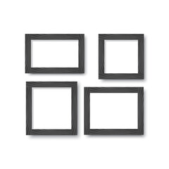 A set of wooden black frames for photos or pictures on the wall with a shadow. Vector illustration.