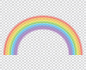 Rainbow on a transparent background. A beautiful natural phenomenon in the sky. Vector illustration.
