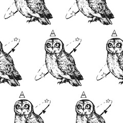 Modern repeated pattern. Seamless texture with mad owl. Background for people who have sleepless. It can be used as wallpaper, upholstery, wrapping, fabric or your design.