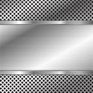 stainless steel metal plate perforated background. Vector design.