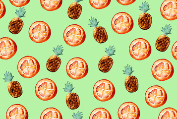Beautiful pattern with hand drawn elements - cute pineapples and orange slices watercolor on green background. Illustration.