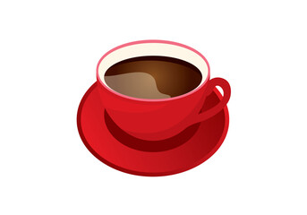 Cup of coffee vector. Red mug of coffee on a white background. Vector illustration of coffee