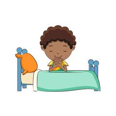 Boy praying bed