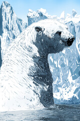 illustration with scene polar bear/illustration with scene arctic polar bear in ice