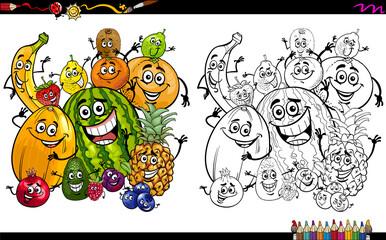 cartoon fruits coloring page