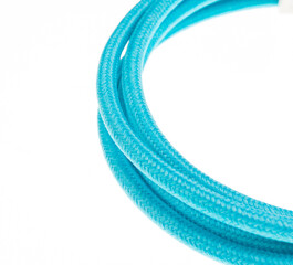 Blue cable isolated on white background