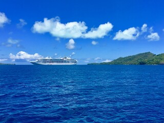 Beautiful view on the shore and coast line of Bora Bora, Tahiti, French Polynesia
