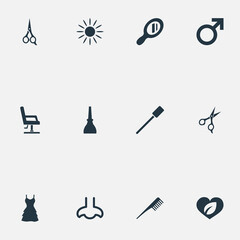 Vector Illustration Set Of Simple Cosmetics Icons. Elements Scissors, Glass, Natural And Other Synonyms Clothes, Sence And Dress.