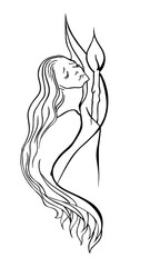 Vector outline of black lines on a white background suffering woman with a candle and stars,