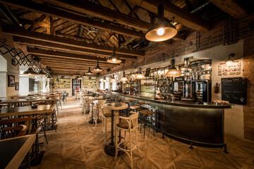 Modern caffe interior with long bar