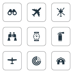 Vector Illustration Set Of Simple Army Icons. Elements Extinguisher, Telescope, Aviator And Other Synonyms Aviation, Spyglass And Binoculars.