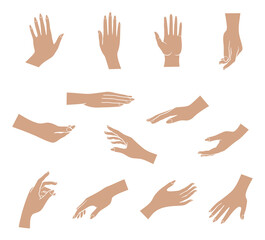 hands set. Set of hands in different gestures emotions and signs on white background isolated vector illustration
