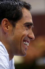 Contador of Spain attends a news conference after a medical examination following his multiple falls in the Tour de France
