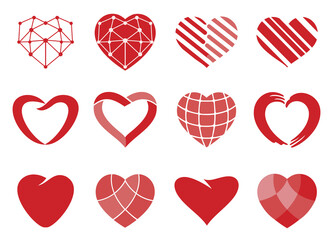 heart. Set of red vector hearts icons. Love symbol. Valentine's Day sign, wedding emblem isolated on white background. Flat style for graphic and web design, logo.