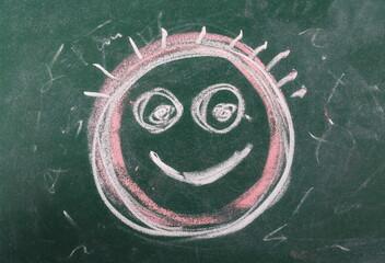 Happy face on chalkboard, blackboard texture