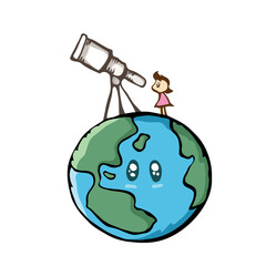 Girl looking the sky with telescope on the earth. Cute cartoon drawing in doodle style. Science design for education.