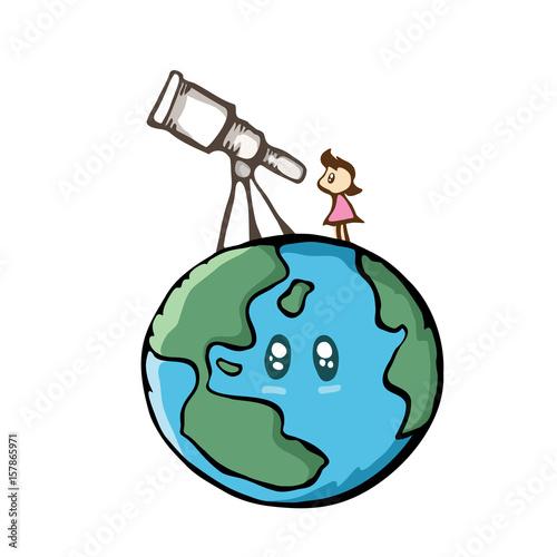 girl looking the sky with telescope on the earth cute cartoon