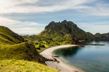 Landscape view from the top of Padar island in Komodo islands, Flores, Indonesia. Wall mural