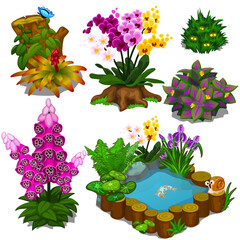 Set of elements for design garden or an infield