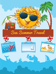 Summer cartoon template with smiling sun