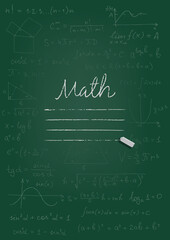 Math copybook cover. Chalk drawing on green blackboard. Vector illustration.