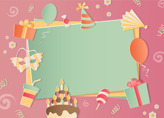 Happy Birthday photo frame. A realistic image that simulates paper. Aspect ratio photography 3:2.  For а girls.
