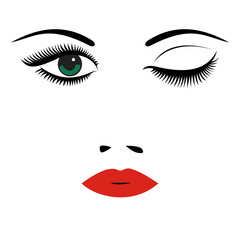 Beautiful women's portrait. Long lashes, red lips, eyes, nose. Vector illustration.